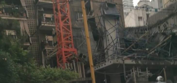 سقوط مبنى قيد الإنشاء في الأشرفية والأجهزة الأمنية تطوق المكان لمعرفة الأسباب