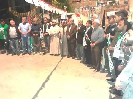 وقفة تضامنية في مخيم الرشيدية مع الاسرى المضربين عن الطعام في السجون الصهيونية