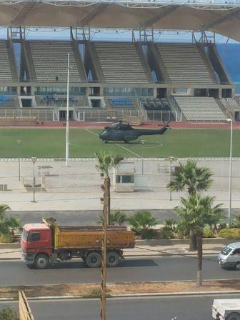 طائرة عسكرية تهبط في ملعب صيدا البلدي