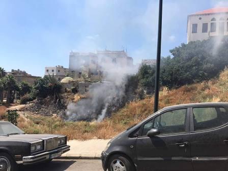 بالصور: حريق للأعشاب قرب القلعة البرية في صيدا