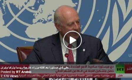 دي ميستورا: يجب اتخاذ خطوات ماراثونية لتشكيل اللجنة الدستورية وسأبلغ مجلس الأمن بسير العملية الخميس