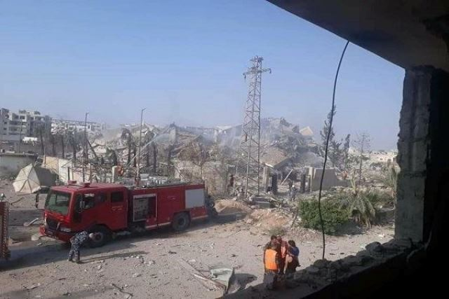 صور للدمار الذي خلفته تفجيرات مطار المزة في دمشق