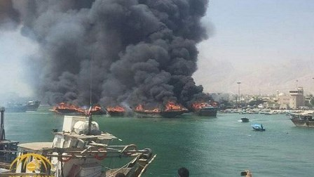 اندلاع حريق في ميناء بوشهر جنوب إيران واشتعال النيران في 7 سفن