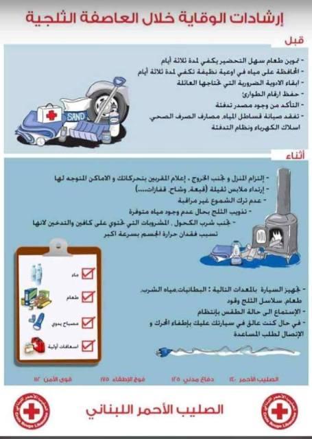 الصليب الأحمر اللبناني: ارشادات الوقاية من العاصفة