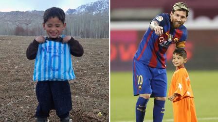 ميسي يلتقي بالطفل الأفغاني صاحب كيس النايلون