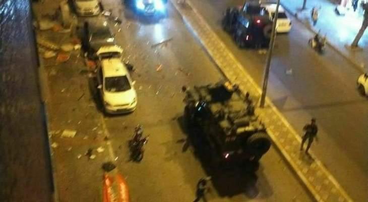 إنفجار في مدينة هاتاي بتركيا وسيارات الإسعاف والاطفاء تتوجه لمكان التفجير