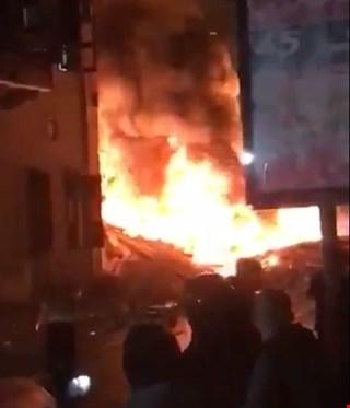 انفجار هائل وانهيار مبنى في يافا بفلسطين