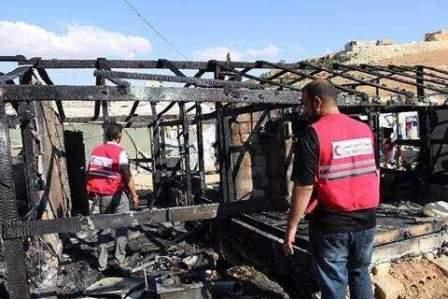 حريق في مخيم الرحمن للاجئين في بلدة عرسال وتضرر 5 خيم