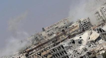 سقوط قذيفة مجهولة المصدر على سوق باب جنين وسط مدينة حلب