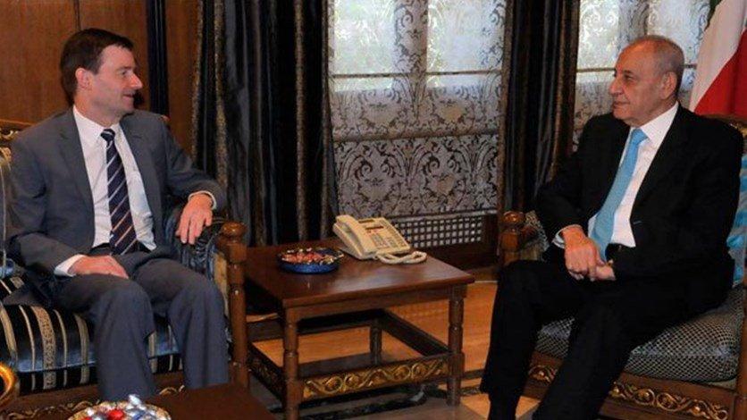 بري أثار الخروقات الإسرائيلية مع هيل: لبنان متمسك بكامل حقوقه في الأرض والبحر