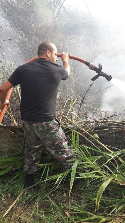 بالصور ... حريق في بستان قرب مستشفى الهمشري في صيدا