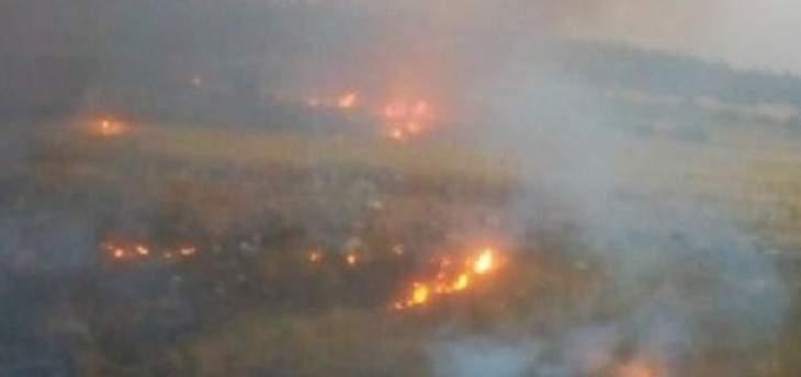 حريق يتسبب بانفجار ألغام في وادي هونين على الحدود الجنوبية