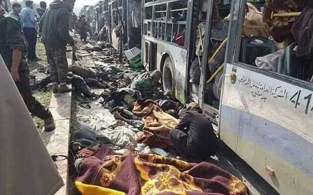 عشرات القتلى والجرحى بتفجير استهدف الخارجين من الفوعة وكفريا