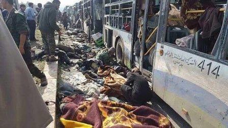 بالصور- انفجار ضخم يستهدف تجمع الخارجين من الفوعة وكفريا في حلب