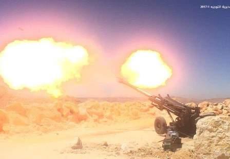 الجيش يستهدف الإرهابيين بالجرود بالقصف المدفعي من سهل الفاكهة