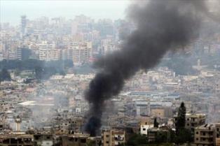 استمرار الاشتباكات في مخيم عين الحلوة حيث تسمع اصوات القذائف الصاروخية في مدينة صيدا