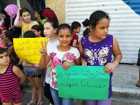 بالصور.. اطفال يعتصمون نصرة للمسجد الاقصى في مخيم عين الحلوة