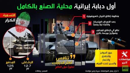 أول دبابة إيرانية محلية الصنع بالكامل (إنفوغرافيك)
